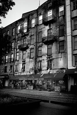 Photograph - Sunrise At River Street Sweets In Black And White by Greg Mimbs