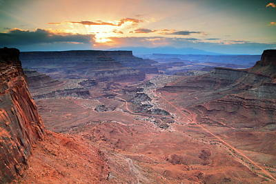 Photograph - Sunrise At Shafer Canyon, Canyonlands National Park by Roupen  Baker