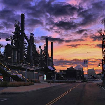 Print featuring the photograph Sunrise At Steelstacks by DJ Florek