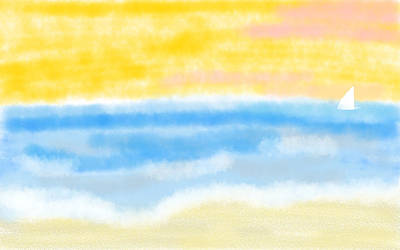 Digital Art - Sunrise At The Beach Abstract Seascape by Eliza Donovan