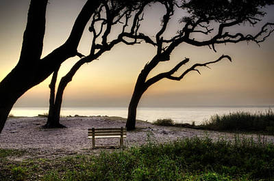 Ocean Photograph - Sunrise At The Bench by Greg Mimbs