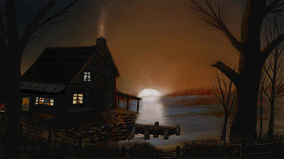 Digital Art - Sunrise At The Cabin by Dick Bourgault