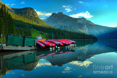 Photograph - Sunrise At The Emerald Lake Canoe Dock by Adam Jewell