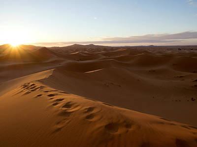 Sunrise At The Erg Chebbi Dunes Art Print