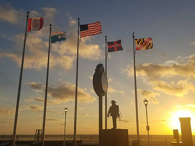 Photograph - Sunrise At The Firefighter Memorial by Robert Banach