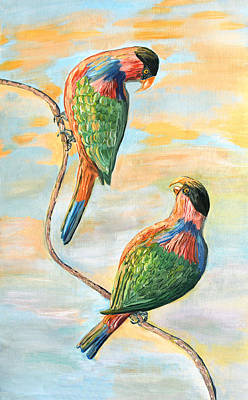Sunrise At The Island With The Black Capped Lories Art Print by Thecla Correya
