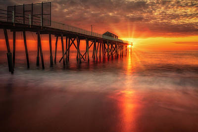 Photograph - Sunrise At The Jersey Shore Pier by Susan Candelario