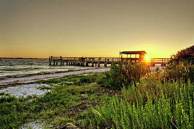 Golden Photograph - Sunrise At The Sanibel Island Pier by Chrystal Mimbs