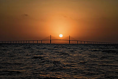 Photograph - Sunrise At The Skyway Bridge 2 by Michael White