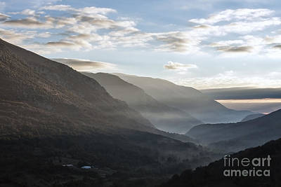 Sunrise Between The Mountains Of The Abruzzo National Park Art Print