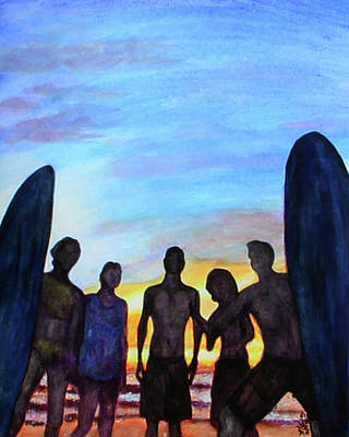 Surfing Art Painting - Sunrise Board Meeting by M Gilroy