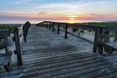 Photograph - Sunrise Boardwalk, Cranes Beach by Michael Hubley