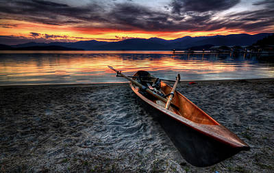 Canoes Photograph - Sunrise Boat by Matt Hanson