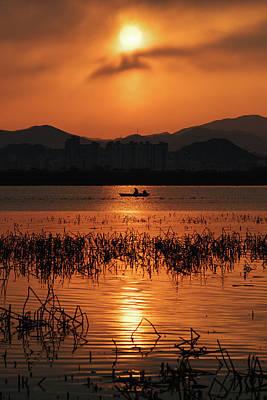 Photograph - Sunrise Boat Silhouette by Roy Cruz