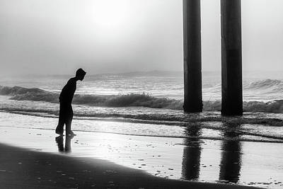 Print featuring the photograph Sunrise Boy In Foggy Beach by John McGraw