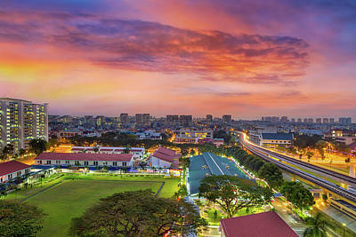 Photograph - Sunrise By Mrt Station In Eunos Singapore by David Gn