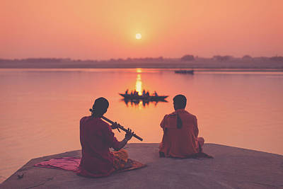Photograph - Sunrise By The Ganges by Marji Lang