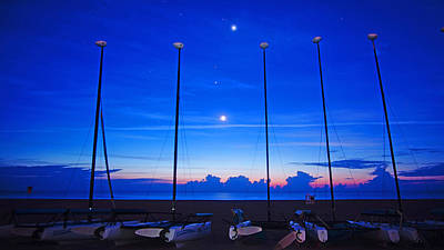 Photograph - Sunrise Catamarans Moon Planets by Lawrence S Richardson Jr