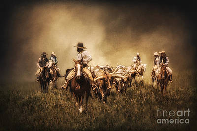 Uncle Sam Posters Rights Managed Images - Sunrise Cattle Drive Royalty-Free Image by Priscilla Burgers