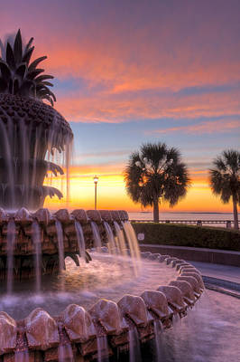 Sunrise Charleston Pineapple Fountain  Art Print by Dustin K Ryan