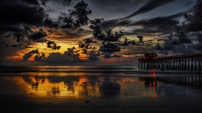 Photograph - Sunrise Cocoa Beach Pier by Bill Dodsworth