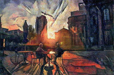 Painting - Sunrise Coffee At Logan Square - Philadelphia by Bill Cannon