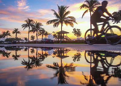 Photograph - Sunrise Cyclist Delray Beach Florida by Lawrence S Richardson Jr
