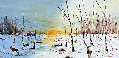Painting - Sunrise Deer by Kevin Brown