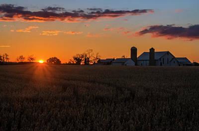 Pennsylvania Barn Digital Art - Sunrise Down On The Farm - Carlisle Pa by Bill Cannon