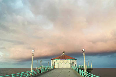 Photograph - Sunrise Drama - Manhattan Beach Pier by Art Block Collections
