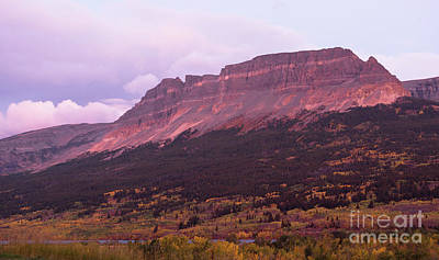 Photograph - Sunrise Flat Top Mountain St Mary Montana Glacier National Park by Christopher Boswell