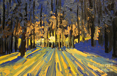 Painting - Sunrise Forest Modern Impressionist Landscape Painting  by Patricia Awapara