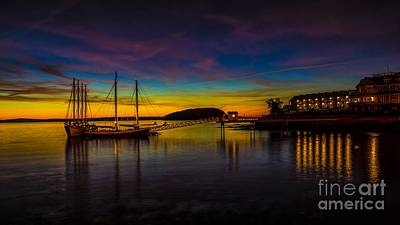 Colorful Button - Sunrise from Bar Harbor Maine. by New England Photography