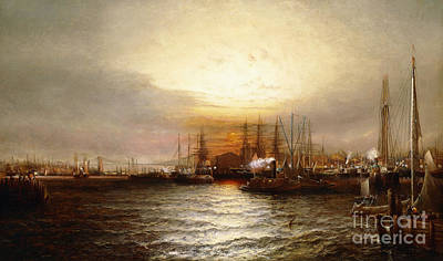 Funnel Painting - Sunrise From Chapman Dock And Old Brooklyn Navy Yard, East River, New York by Elisha Taylor Baker