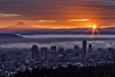Photograph - Sunrise From Pittock Mansion by Wes and Dotty Weber