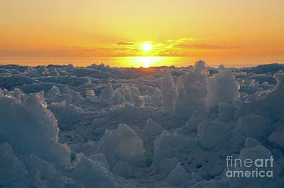 Photograph - Sunrise From The Ice Piles by Sandra Updyke