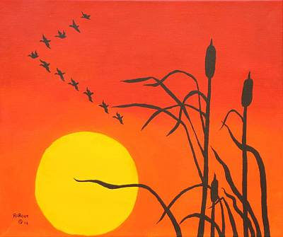 Painting - Sunrise Geese by Ralph Root