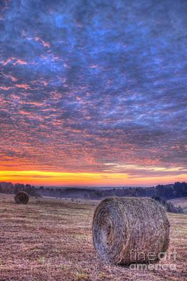 Sunrise Hayfield And A View Walker Church Road Art Print by Reid Callaway
