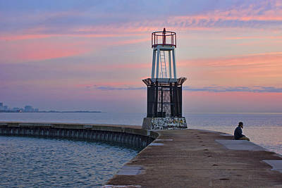 Photograph - Sunrise - Hook Pier Lighthouse - Chicago by Nikolyn McDonald
