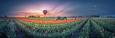 Photograph - Sunrise, Hot Air Balloon And Moon Over The Tulip Field by William Freebilly photography