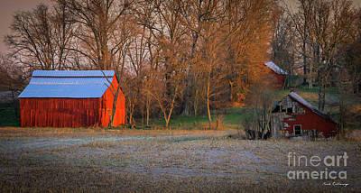 Photograph - Sunrise Illumination Red Barns Kentucky Farming Art by Reid Callaway