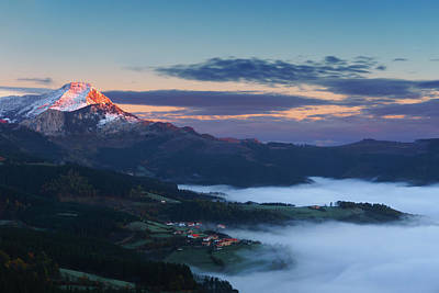 sunrise in Aramaio valley with Anboto mountain Art Print by Mikel Martinez de Osaba