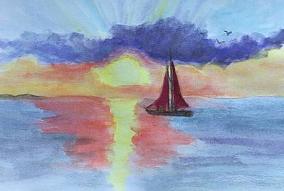 Painting - Sunset In Aruba by Anne Sands