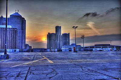 Sunrise In Detroit Mi Print by Nicholas  Grunas