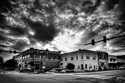 Murphy Photograph - Sunrise In Downtown Murphy North Carolina In Black And White by Greg Mimbs