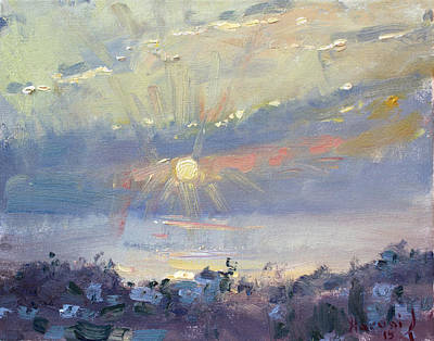 Greek Painting - Sunrise In Egey Sea Greece by Ylli Haruni