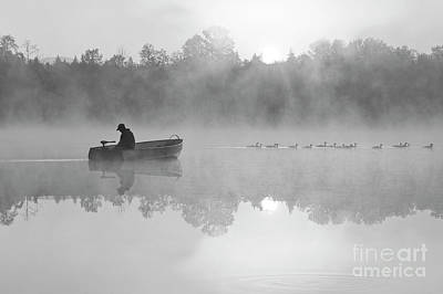 Photograph - Sunrise In Fog Lake Cassidy With Fisherman by Jim Corwin