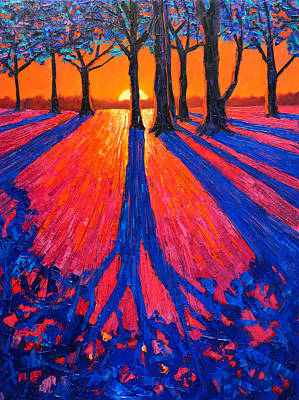 Fauvist Landscape Painting - Sunrise In Glory - Long Shadows Of Trees At Dawn by Ana Maria Edulescu