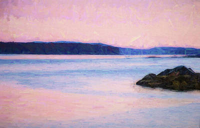 Maine Coast Mixed Media - Sunrise In Pink by Terry Davis