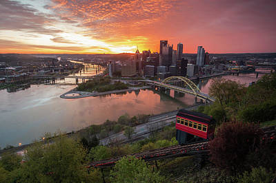 Photograph - Sunrise In Pittsburgh by Jim Cheney